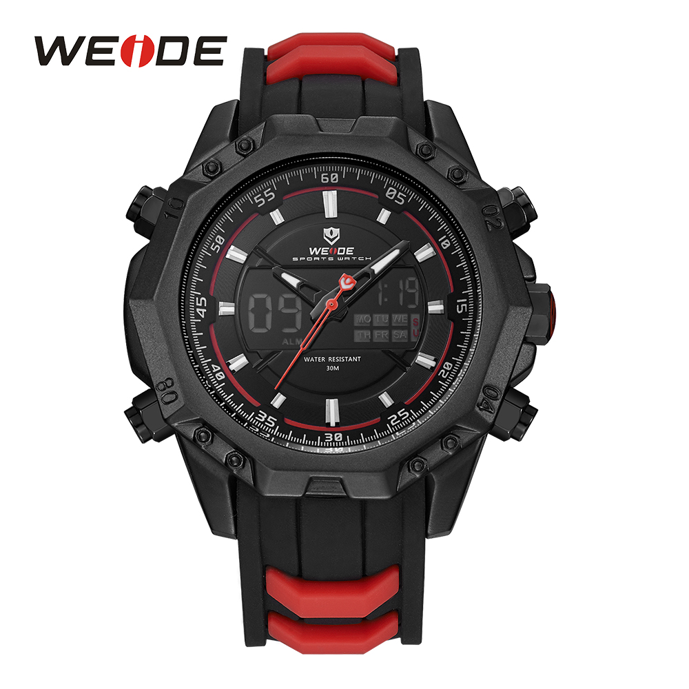 WEIDE Mens Red Analog LCD Digital Back Light Alarm Silicone Strap Buckle Auto Date Day Quartz Movement Wristwatches For Sports weide men running sports quartz watch black strap dual date day back light analog digital alarm clock military watches