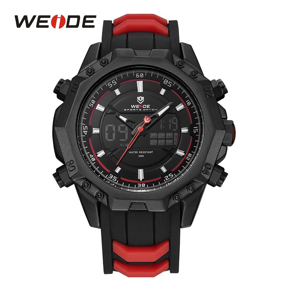 все цены на WEIDE Sports Watch Analog Digital Back Light Alarm Silicone Strap Band Auto Date Day Men Quartz Movement Waterproof Wristwatches