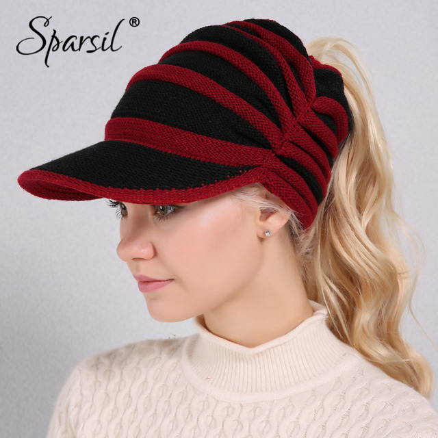 Sparsil Women Wool Knitted Winter Hats Hair Hole Visors Adjustable String  Caps Striped Elastic Soft Casquette Female Casual Cap aca9de6ab2e