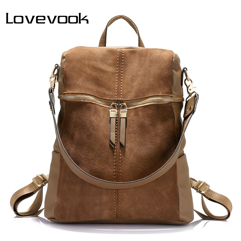 LOVEVOOK Women Vintage Backpack Nubuck Leather+PU School Backpacks For Teenage Girls Casual Shoulder Bagpack Female Travel Bag