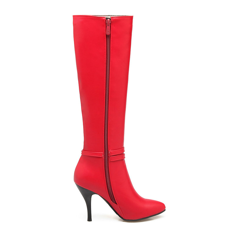 Women Sexy Thin High Heel Knee High Boots Pointed Toe Winter Fashion Women Shoes Black Red