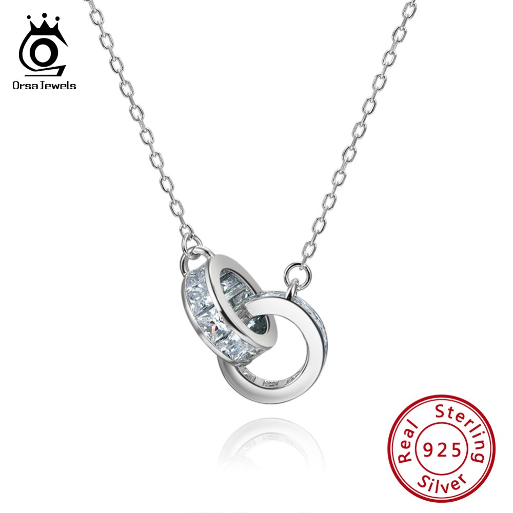ORSA JEWELS 100% Real 925 Woman Twice Round Pendants Necklaces Sterling Silver Double AAA CZ Stylish Female Party Jewelry SN137-in Necklaces from Jewelry & Accessories