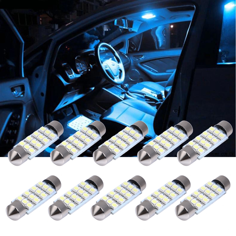 10Pcs Car Interior LED Festoon Dome Light Bulb 41mm White 3528 12SMD Auto Car-styling Light-emitting Diode Lamp for Automobiles 2pcs 12v 31mm 36mm 39mm 41mm canbus led auto festoon light error free interior doom lamp car styling for volvo bmw audi benz