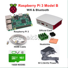 Big discount Raspberry Pi 3 Model B Starter Kit with Official Case 16GB NOOBS 5V 2.5A EU/US/UK/AU Power Supply Heatsinks HDMI Cable