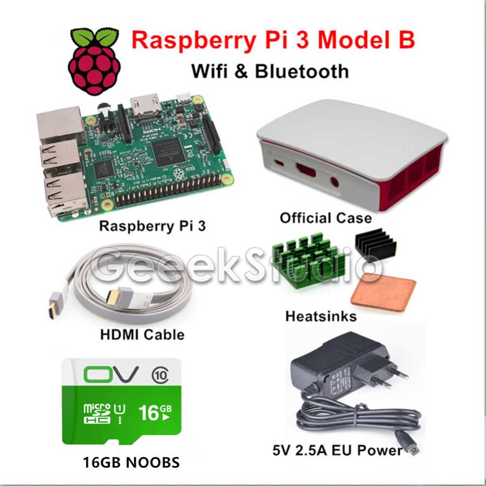 Raspberry Pi 3 Model B Starter Kit with Official Case 16GB NOOBS 5V 2.5A EU/US/UK/AU Power Supply Heatsinks HDMI Cable autoeye cctv camera power adapter dc12v 1a 2a 3a 5a ahd camera power supply eu us uk au plug