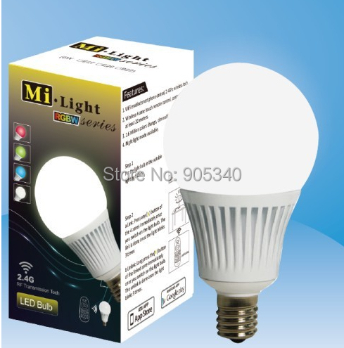 WIFI LED bulb Milight Group Division E14 bulb 5W AC86-265V 350-370LM RGB+Warm White 2.4Ghz LED smart Bulbs controlable by Iphone