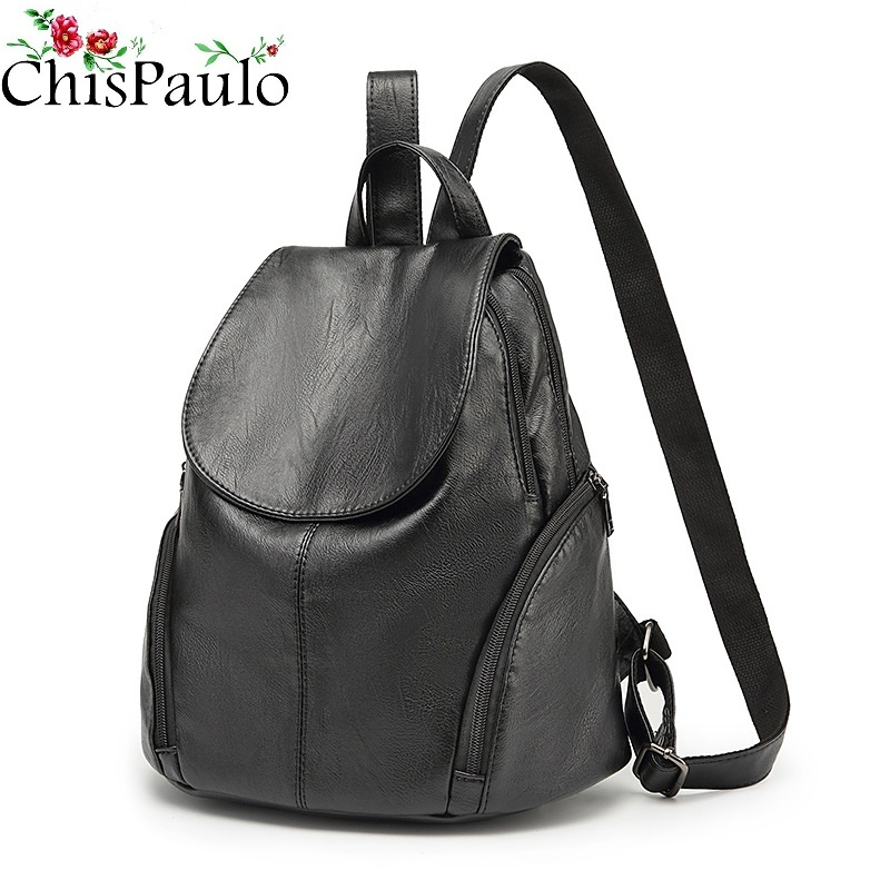CHISPAULO luxury Genuine Leather Women s Backpacks Brief Casual Knapsack Laptop Bag travel Ladies Pocket Girl