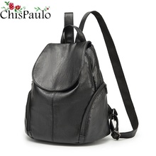 CHISPAULO luxury Genuine Leather Women's Backpacks Brief Casual Knapsack Laptop Bag travel Ladies Pocket Girl School bags C262