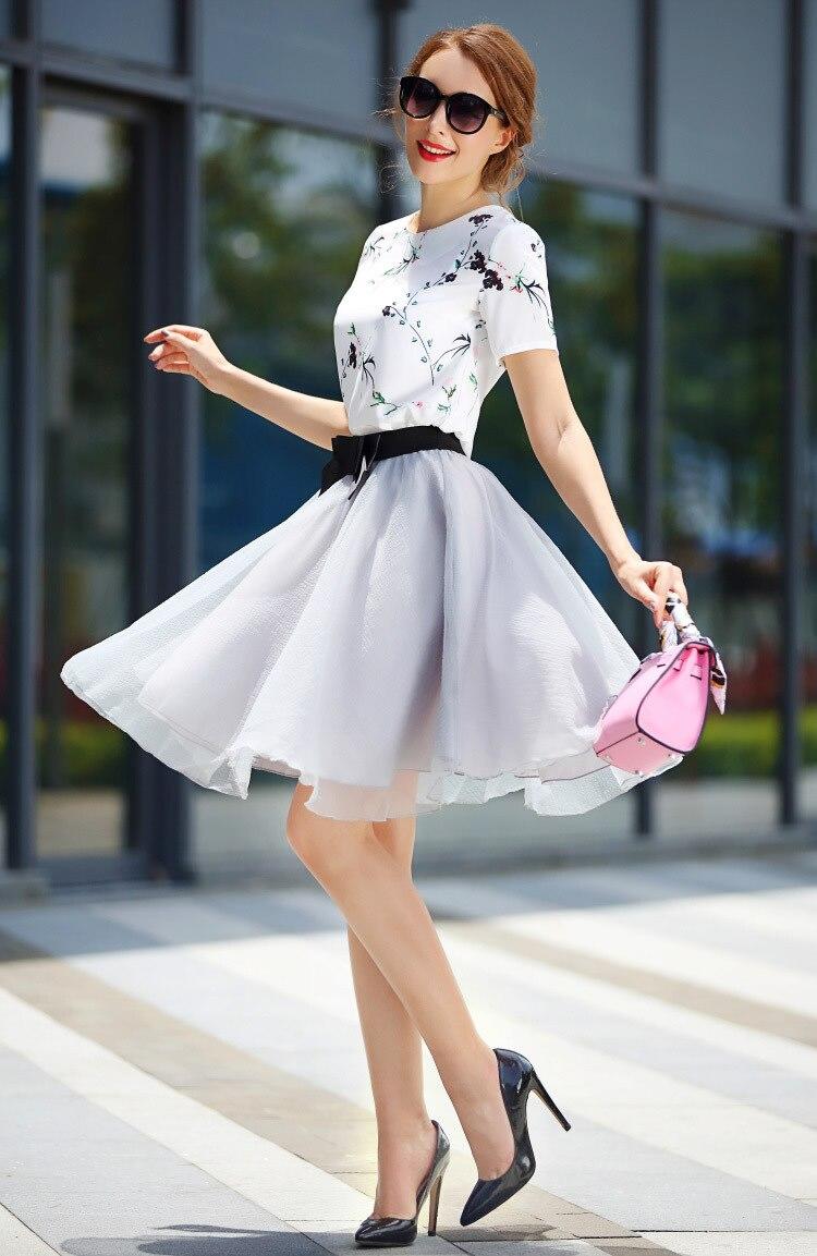 Female Summer Cloth White Flower Printing Blouse Bow Ball Skirt