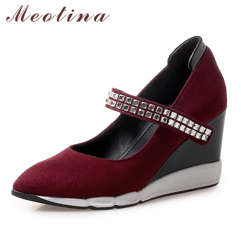 Meotina High Heels Mary Janes Shoes Women Platform Wedge High Heels Shoes Rhinestone Pointed Toe Party