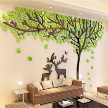 Elk Tree 3D Stereo Acrylic Wall Stickers Living Room Sofa TV Background Sticker Creative DIY Wall Home Decoration Christmas Gift