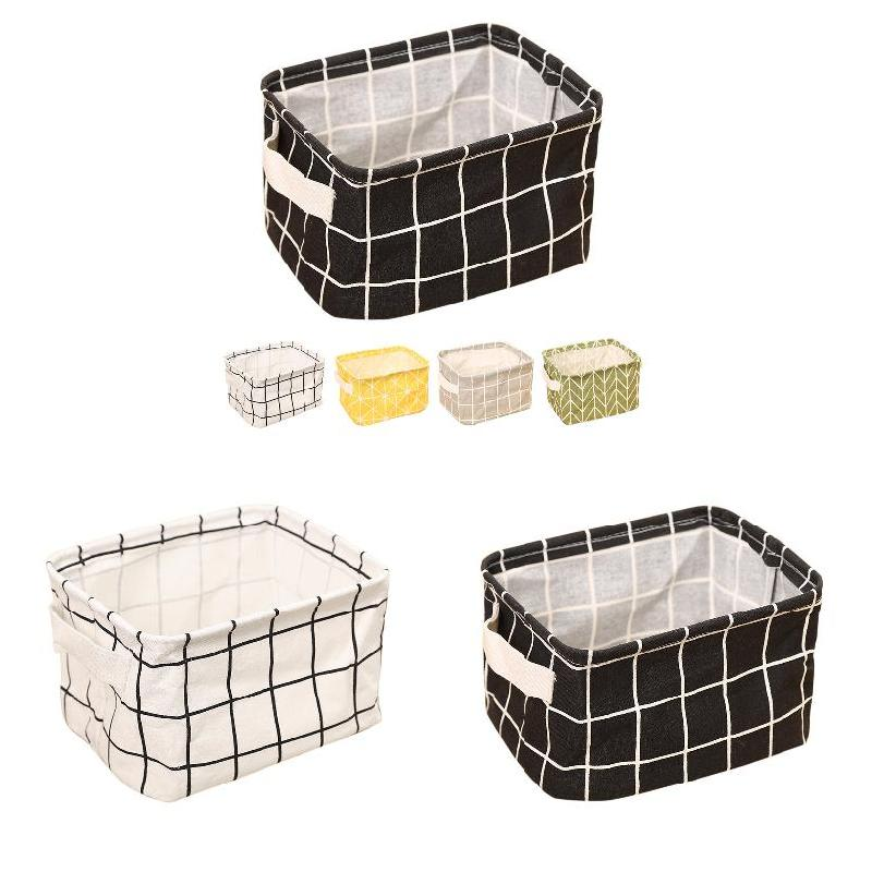 Desk Storage Box Geometry Pattern Cotton Linen Organizer Basket Foldable Cosmetic Case Hogard