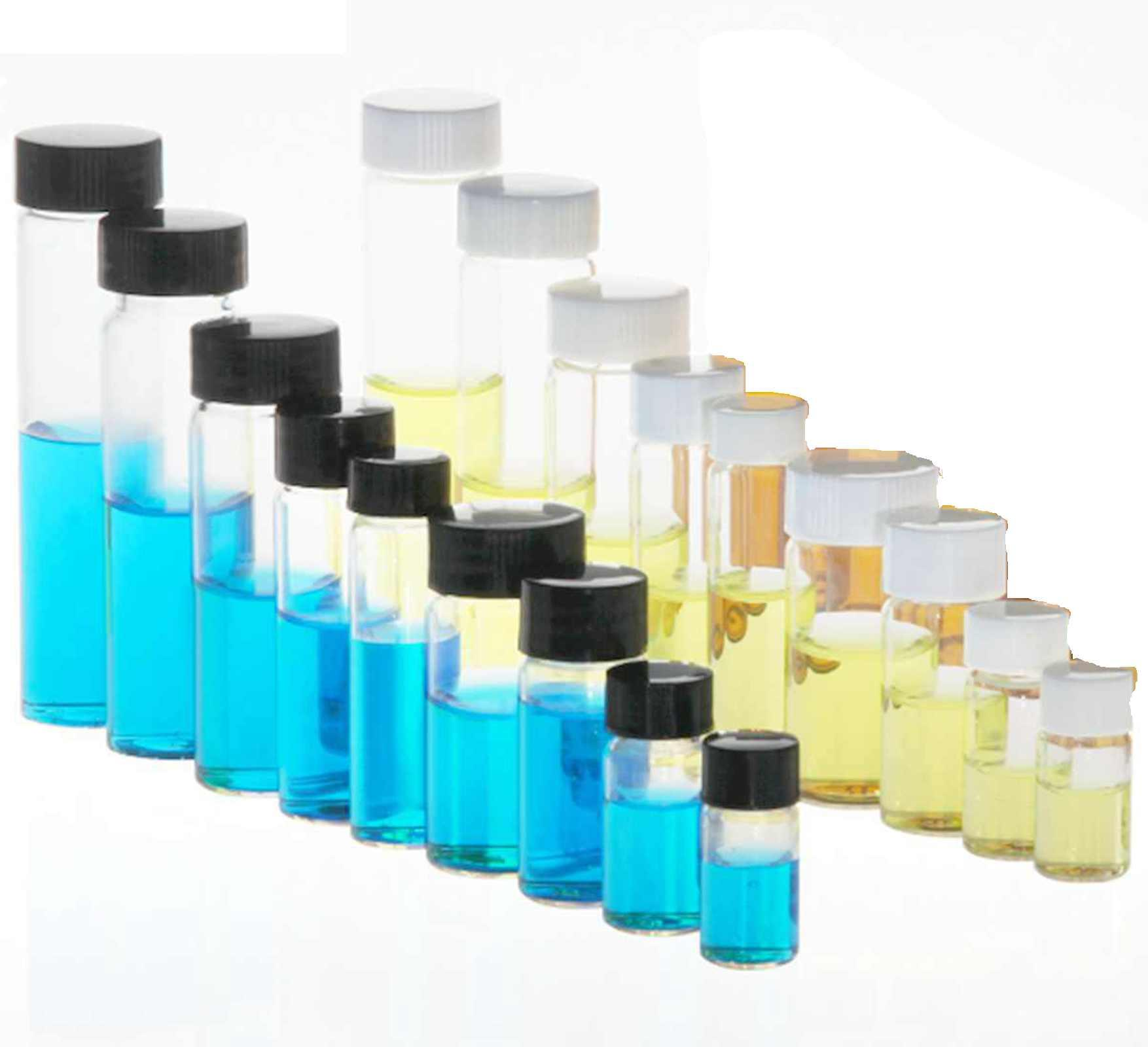 3ml/5ml/10ml/15ml/20ml/30ml/40ml/50ml  Clear Glass Seal Bottle Reagent Sample Vials Plastic Lid Screw Cap