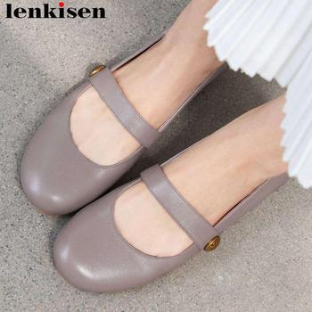 Lenkisen genuine leather loafers slip on British school round toe flat with women flats grandma shoes young girls shoes L9f2