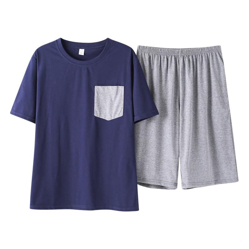 Men 2019 New Koreancotton Summer Simple Natural Pajamas Short Sleeve Shorts Casual Two Piece Men Pajama Sets