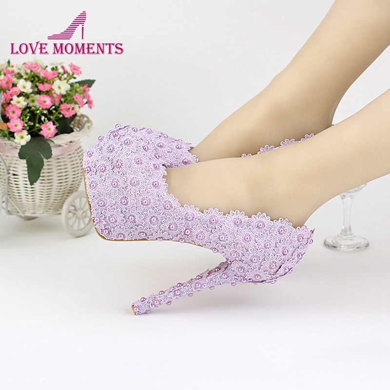 Bridal Shoes Elegant: Purple Color Wedding Shoes Lady Beautiful Elegant Bridal