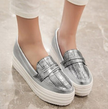 Fashion Street Gold +Silver Eevator Platform Shoes For Women Pu Leather  Vogue Comfort Loafers Creepers Platform Flat Shoes 111 b8f08d75c4a4