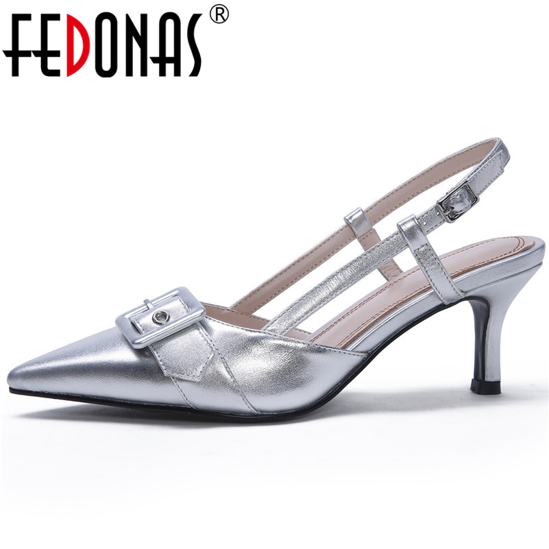 FEDONAS Women Pumps Genuine Leather High Heels Summer Sandals Buckle Close Toe Pointed Toe Concise Fahison