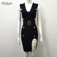 2018 New fashion sexy women dress V Neck Button Open Fork Tank bodycon rayon elegant Sample celebrity party Dress