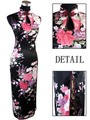Hot Sale Black Chinese Women's Silk Rayou Halter Cheongsam Long Qipao Dress Flower Size S M L XL XXL Free Shipping J5113
