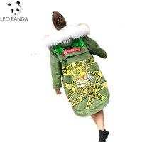 Для женщин зима Превосходное качество хлопка пальто принт головы тигра письмо в реальном меховой воротник куртка с капюшоном 2018 новые утеп