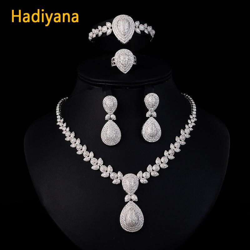 Hadiyana de lujo brillante circón cúbico 4 piezas conjunto de joyas para las mujeres Venta caliente collar y pulsera y pendientes conjuntos de joyas CN289 - 4