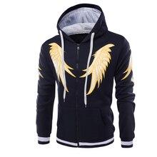 New 2018 Mens Brand Hoodie Zip Cardigan Sweatshirt Fashion Casual High Quality Angel Wing Print M-XXL