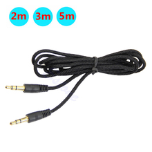 2/3/5m Aux Cable 3.5mm to 3.5 mm Male to Male Nylon Jack Car Audio Cable Line Cord for Phone MP3/ MP4 CD Speaker Auto AUX Cable 3 5mm male to male aux audio stretch cable white 5pcs 75cm