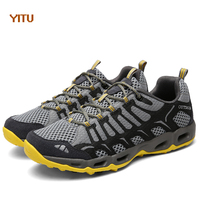 YITU 2018 Outdoor Men's Sneakers Walking Jogging Breathable Running Shoes Sports Shoes Mesh Trail Running Shoes Male Water Brand