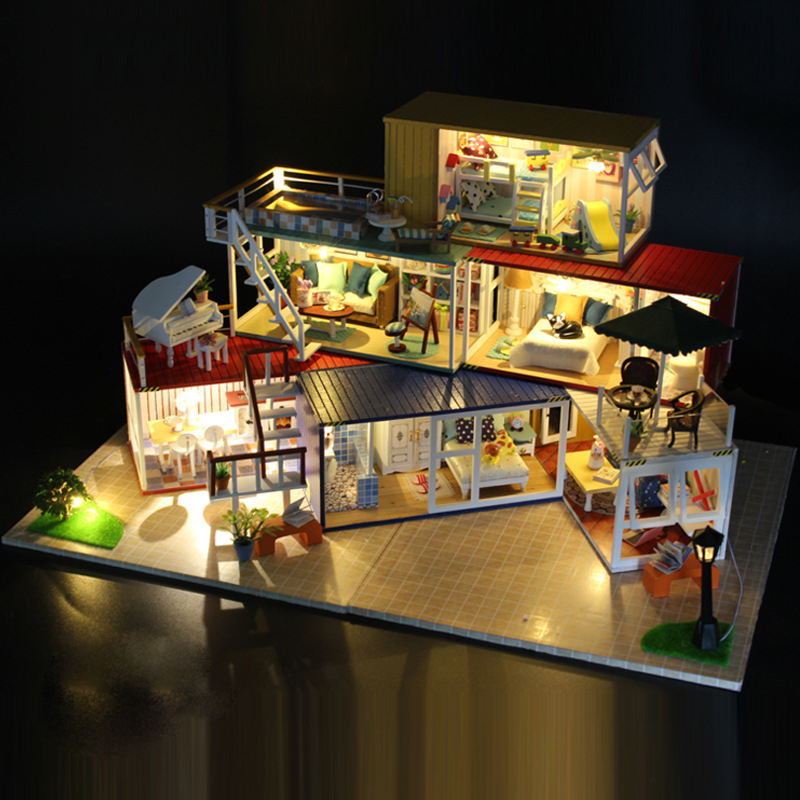 DIY DollHouse Container Home Miniature With Furnitures Wooden Doll House Handmade Building Toy Model YOUR NAME Suit 13843 #E wooden handmade dollhouse miniature diy kit caravan