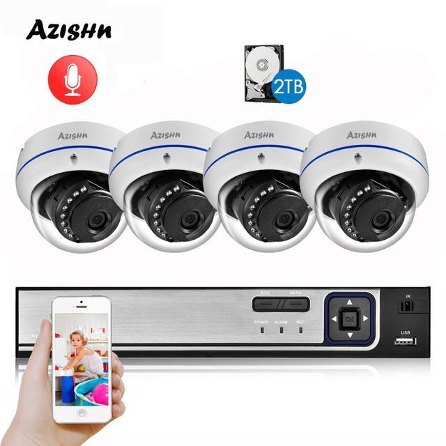AZISHN H.265 5MP POE CCTV Security System 5.0MP NVR Explosion proof Audio IP Camera P2P Onvif  IR Night Outdoor Surveillance Kit