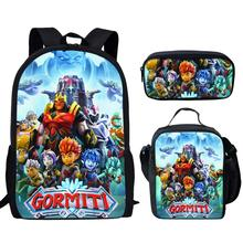 Coloranimal Cartoon Anime Gormiti School Bag Junior Student 3pcs Set Backpack Hot Sale Game Children Bookbag Kid Daily Rucksack