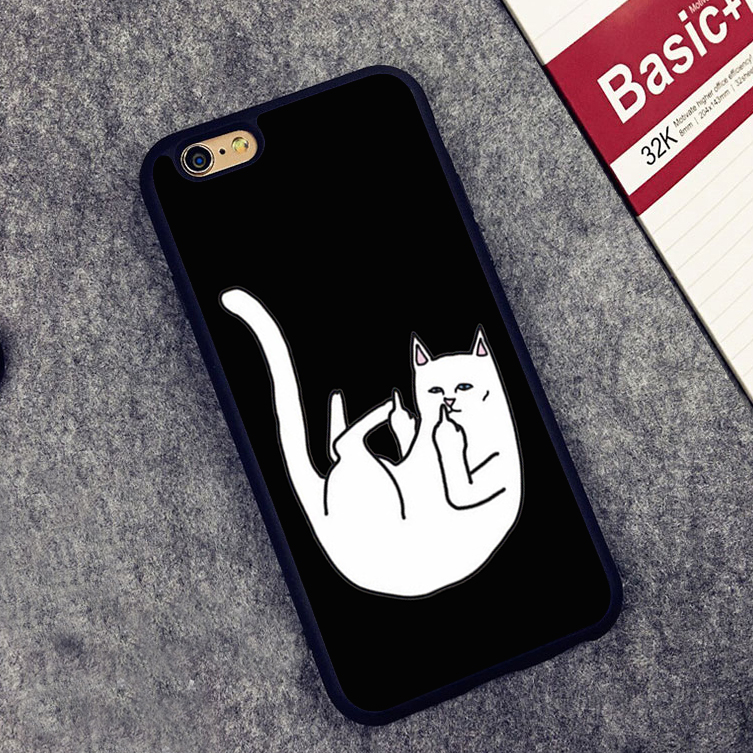 Cartoon Cute Middle finger Cat Soft Silicone Protective case Cover For iPhone X 8 7 7Plus 6 6S Plus 5 5S SE