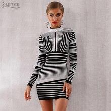 Adyce 2020 새로운 여성 붕대 드레스 섹시한 긴 소매 줄무늬 그레이 클럽 드레스 Vestido 미니 우아한 연예인 이브닝 드레스