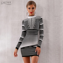 Adyce 2020 חדש נשים תחבושת שמלה סקסי ארוך שרוול פסים אפור מועדון שמלת Vestido מיני אלגנטי סלבריטאים ערב המפלגה שמלה