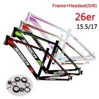 JESSICA 26er Aluminum MTB Bicycle Frame 15.5 17 Mountain Bike Frames Straight Headtube Disc 44mm Headset Ultralight Frameset