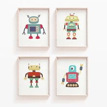 Cartoon Robot Nursery Art Prints Wall Canvas Painting Nordic Posters And Pictures Baby Kids gift Room Home Decor