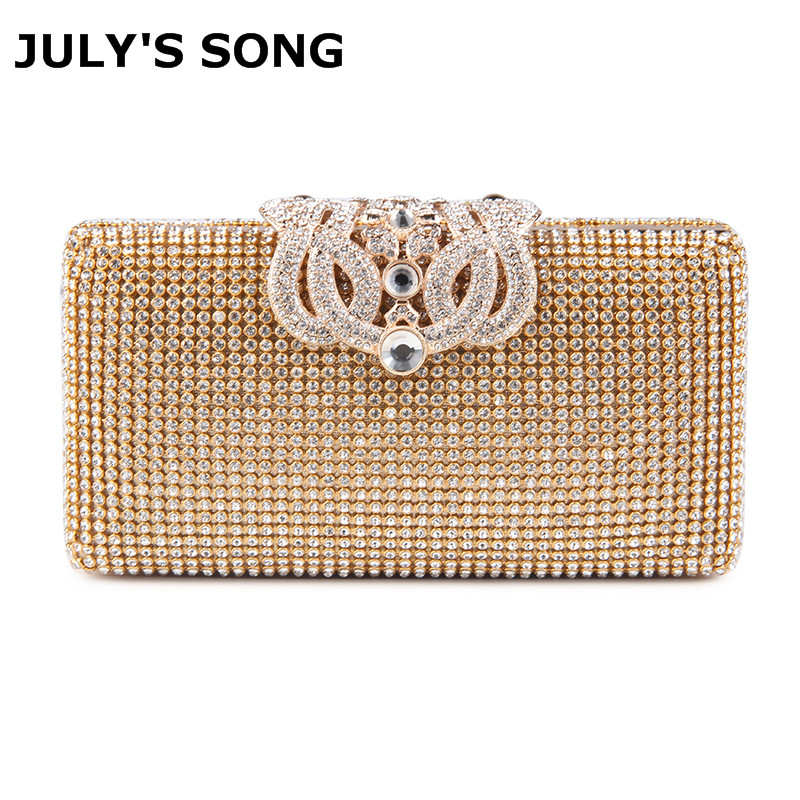 Women Evening Bags Rhinestones Metal Crown Handbags Full Of Diamonds Day Clutches Purse Evening Bags Silver/gold/black image