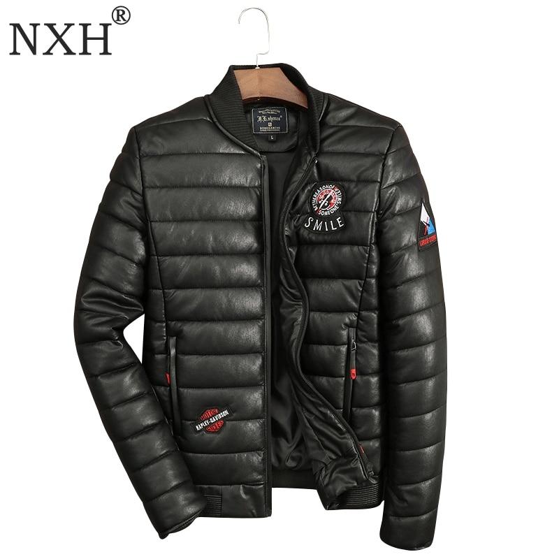 Large Size Up To 150KG Men's Winter PU Leather Jacket Cotton Garmen Warm Men Overcoat Male Casual Black Coat Brand Quality M-3XL