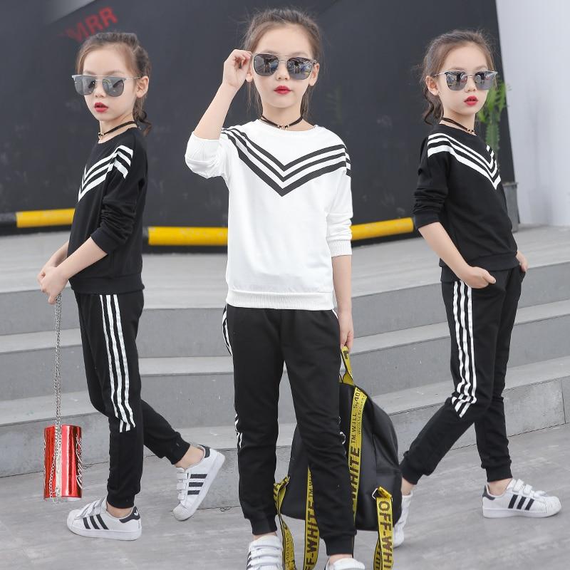 2018 New Girls Sportswear Kids sport style Tracksuit 2 Piece Sweatshirt Pants Sports Suit Teenage Girls Clothing Set цена