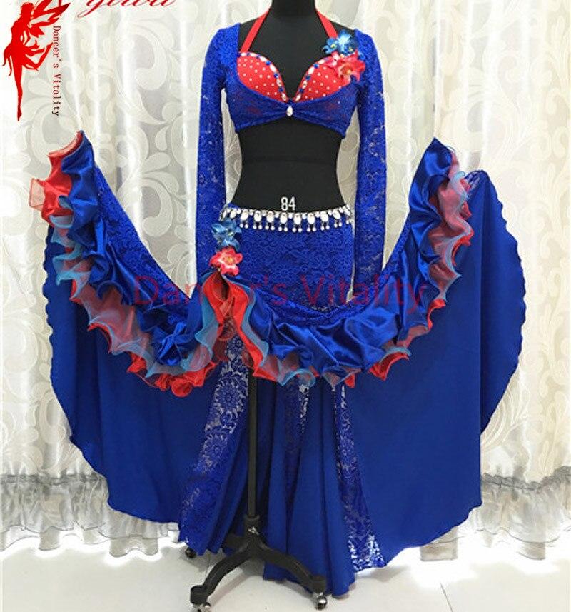 Индии танец живота одежда Роскошные танец живота 3 шт. комплект (топ/бюстгальтер/юбка) женщин танец живота Performance костюм B/C чашки размеры S, M, L