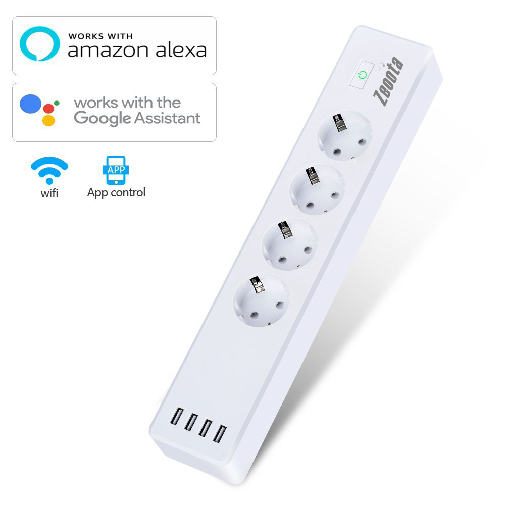 Wlan Power Strip 4 EU Plug Wifi Smart Socket ,4USB Charging Port,App Control IOS/Android,Voice Control,Alexa,Google Assistant ...