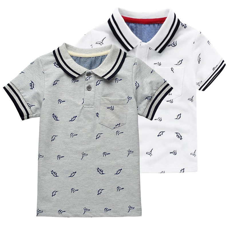 Summer Dinosaur Boys T-shirts Cotton Kids Tops Sports Tee Turn-down Collar Baby Polo Shirts 2-7Y Childrens Clothing