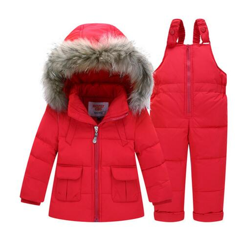 Girls Boys Winter Down Clothes Sets Outdoor Warm Infant Suits Thick Coats+Overalls Windproof  -30 degree Jacket Child Kids Suit new 2017 russia winter boys clothing warm jacket for kids thick coats high quality overalls for boy down