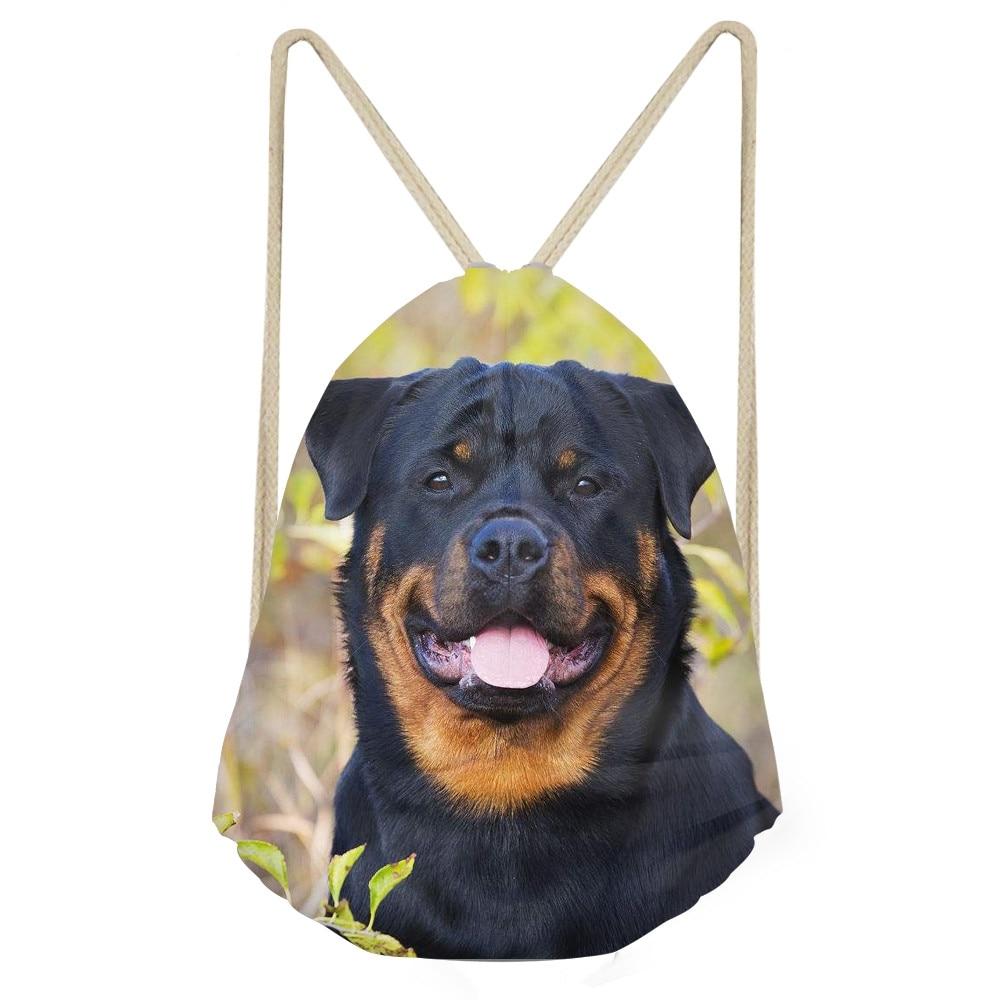 Funny 3D Dog Rottweiler Print Women Men Drawstrings Bags Casual Travel Storage Beach Backpacks for Teenagers