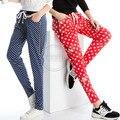 Outono Verão Mulheres Polka Dot Estrela Impresso Elástico Na Cintura Harem Pants Casuais Plus Size Senhoras Esticar Calças 3XL