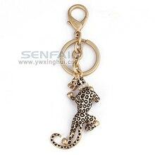 Simulación 3D Leopard Animal anillo Gold Jaguar Leapord Metal llaveros personalizados Animal Keychain del coche, artículos de la novedad