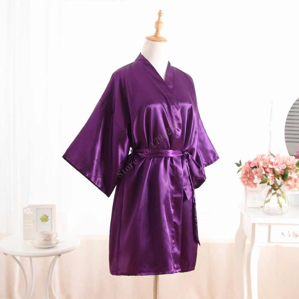 c72365e6bb ... Hot Women robe Purple Silk Satin Robes Wedding Bridesmaid Bride Gown  kimono Solid robe One size ...