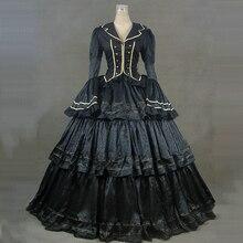 Черные Готические викторианские вечерние платья с длинными расклешенными рукавами, средневековые Ретро Бальные платья Марии Антуанетты для Хэллоуина