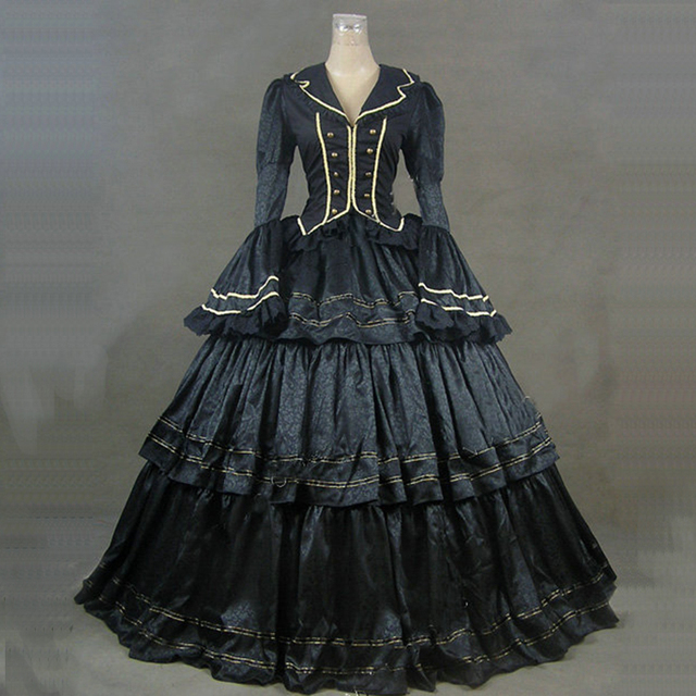 2018 Black Gothic Victorian historical Party Dress Long Flare Sleeve Medieval Retro Marie Antoinette Ball Gowns For Halloween